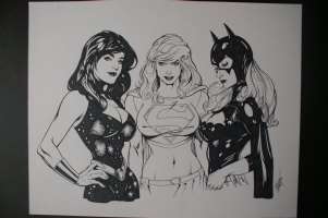 Donna Troy, Super Girl, & Batgirl Comic Art