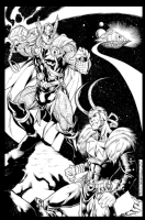 Thor vs Loki - Kevin Sharpe  INKED  Comic Art