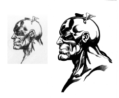 Byrne's cap head sketch - inks by Kayell, Comic Art