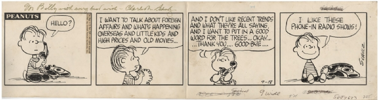 Charles M. Schulz's Peanuts Original Art Strip, Comic Art