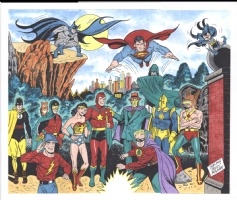 Sheldon Moldoff Original Golden Age DC Hero Painting, Comic Art
