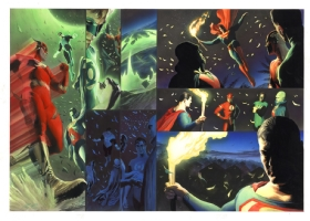 JLA: Liberty and Justice Spread by Alex Ross, Comic Art