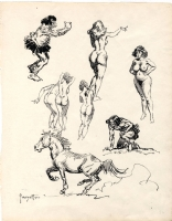 Frank Frazetta Nude Women, Cavemen and Horse Sketch, Comic Art