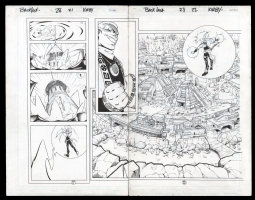 Backlash #38 Double Page Splash Pgs 21-22 by Juvaun Kirby and John TIghe, Comic Art
