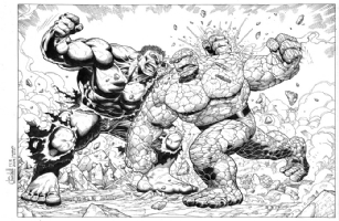 Hulk v Thing - Ian Churchill Comic Art