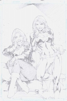 Batgirl and Black Canary by Ed Benes Comic Art
