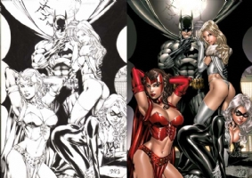Benes/Ruffino Batman, White Queen, Scarlet Witch and Black Cat comparison Comic Art