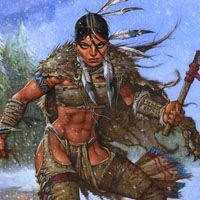Simon Bisley Famous Women #9 Original Art - Pocahontas (SOLD) Comic Art