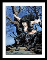 Panther Woman Trading Card Painting by Bernie Wrightson (SOLD) Comic Art