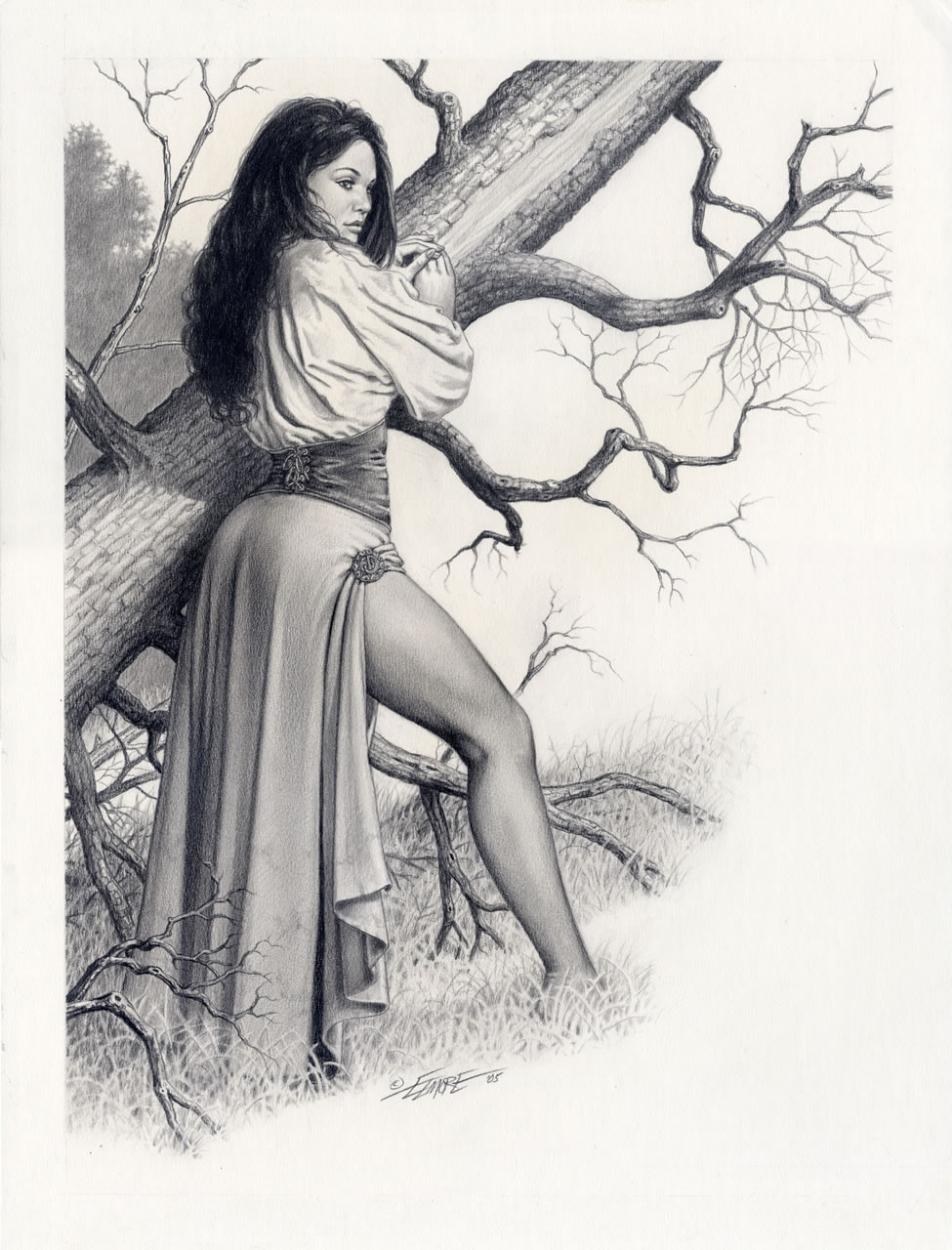 LARRY ELMORE (dessins) Womanbytree_L