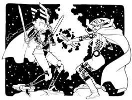 Sif vs. Big Barda by Joel Carroll Comic Art