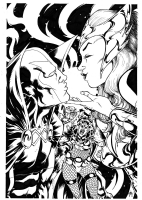 Mister Miracle & Big Barda vs. The Enchantress & The Executioner by Nathan Stockman Comic Art