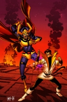 Karate Kid vs. Big Barda by Nathan Stockman & Simon Gough Comic Art