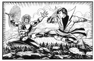 Karate Kid vs. The Badger by Steven Butler Comic Art