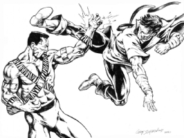 Karate Kid vs. Bronze Tiger by Geof Isherwood Comic Art