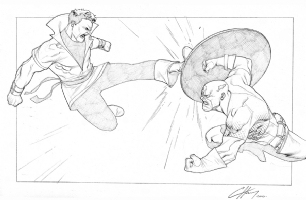 Karate Kid vs. Captain America by Clayton Henry Comic Art