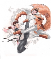 Karate Kid vs. Squirrel Girl by Eric Koda Comic Art