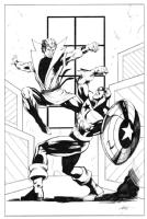Karate Kid vs. U.S.Agent by M.C. Wyman Comic Art
