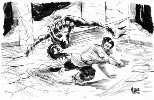 Karate Kid vs. Black Bat by Kevin Mellon Comic Art
