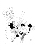 Karate Kid vs. The Punisher by Ben Sears Comic Art