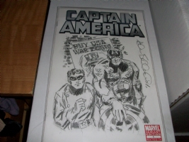 Captain America & Bucky - Buy US War Bonds Sketch by Allen Bellman Comic Art
