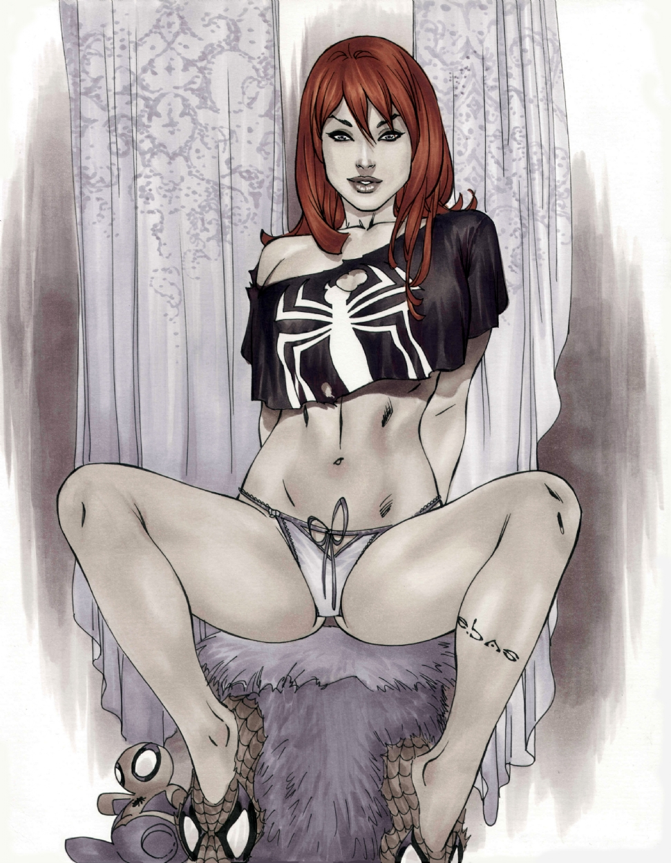 mary jane in blk spidy shirt
