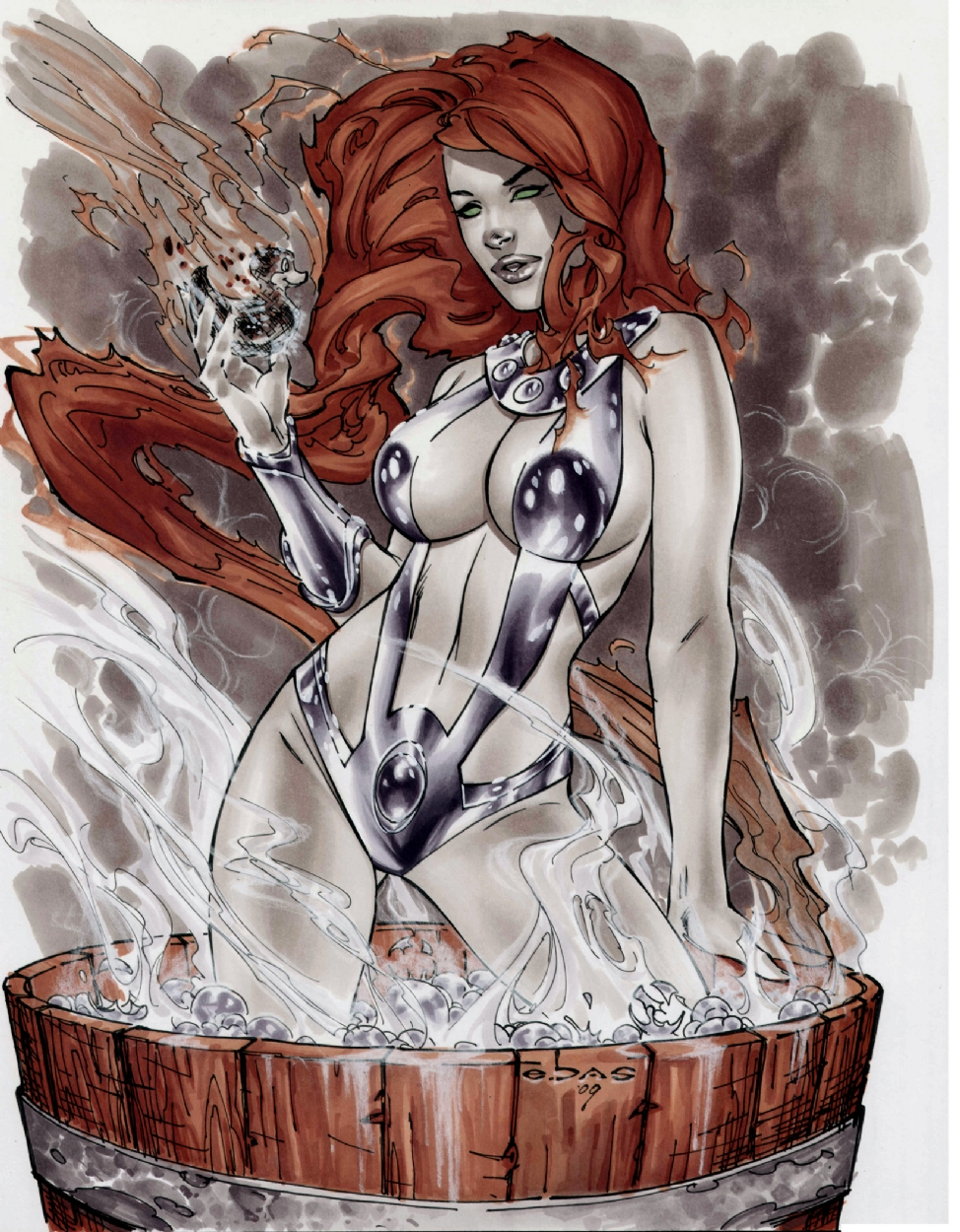 Starfire in a steaming HOT tub Comic Art