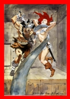 7 the bo hampton triptych part seven Conan with Red Sonja Comic Art