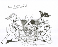 Pirate Treasure Pillaged-by-Picsou-and-Used-as-a-Cover w/ Donald Duck vs Uncle Scrooge! by Don Rosa Comic Art