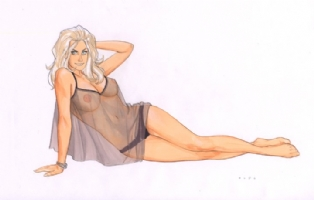 Phil Noto - Blonde Nude Comic Art