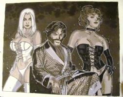 Hellfire club Jason, White Queen, Black Queen (a 2 piece series) Front View Comic Art