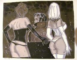 Hellfire club Jason, White Queen, Black Queen (a 2 piece series)  Back View Comic Art