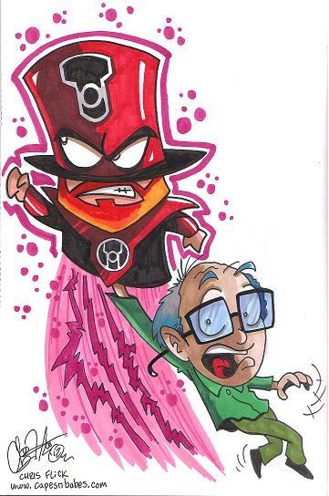 Red Lantern Mr. Hat & Mr. Garrison (South Park) by Chris Flick (SuperHero Weekend @ Fusion Comics 2012) Comic Art