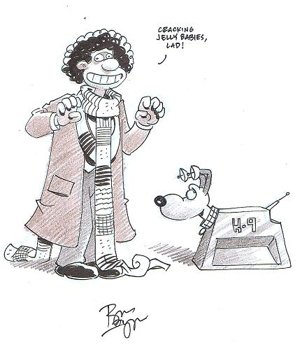 Wallace & Gromit as Fourth Doctor & K9 (Doctor Who) by Roger Langridge (Baltimore Comic Con 2012) Comic Art