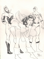 MARY MARVEL,BOOSTER GOLD & BLUE BEETLE BY KEVIN MAGUIRE Comic Art