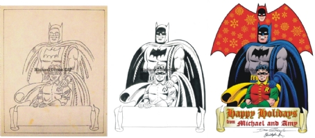 Batman and Robin Christmas Card: From Start to Finish, Dick Sprang, Pencil Work, Chris Ivy, Inks, Chris Ivy, Colors Comic Art