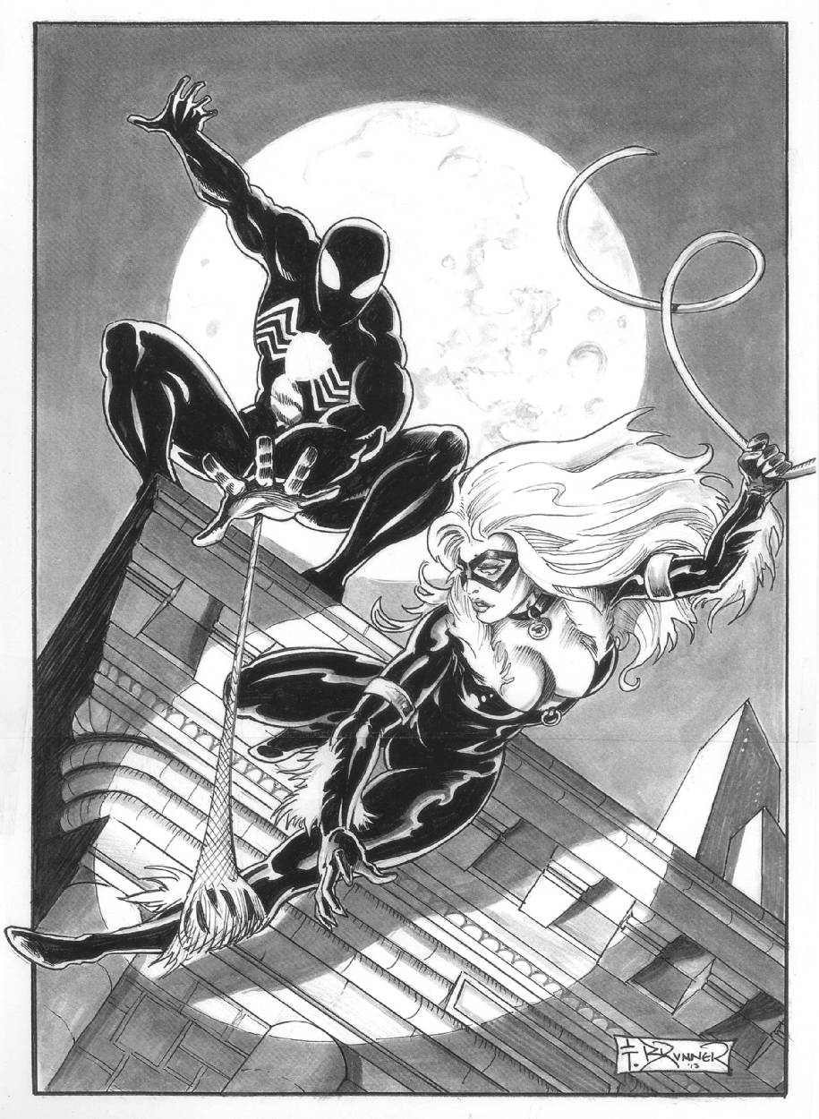 Black Cat and Spider-Man by Frank Brunner Comic Art