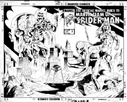 The Official Marvel Index to Marvel-Team Up featuring Spider-Man # 3-( wraparound cover- mechanical )-by Sandy Plunkett & P. Craig Russell Comic Art