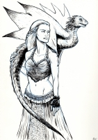 Daenerys Targaryen with Dragon Comic Art