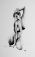 Frank Cho - Ballpoint nude, Comic Art