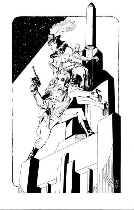 Paul Smith - The Rocketeer and Bettie Comic Art
