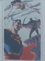 Stev Rude Superman Batman Wonder Woman painting Comic Art
