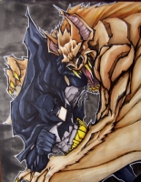 Batman vs Manbat Comic Art