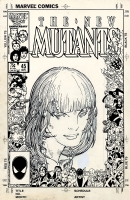 New Mutants #45 cover + overlay Comic Art