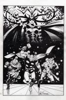 Asgardians (inked background) - Comic Book Artist #21, pg.17 Comic Art