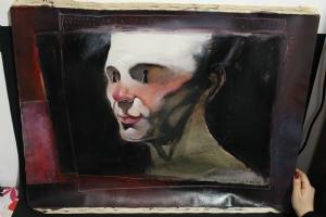Al Columbia self-portrait signed 1989 oil painting Comic Art
