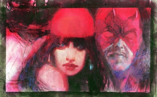 Daredevil/Elektra Painting - Phase One Comic Art