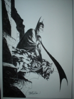 ON E-BAY  Wrightson Batman on Gargolyle Large Pin-Up Comic Art