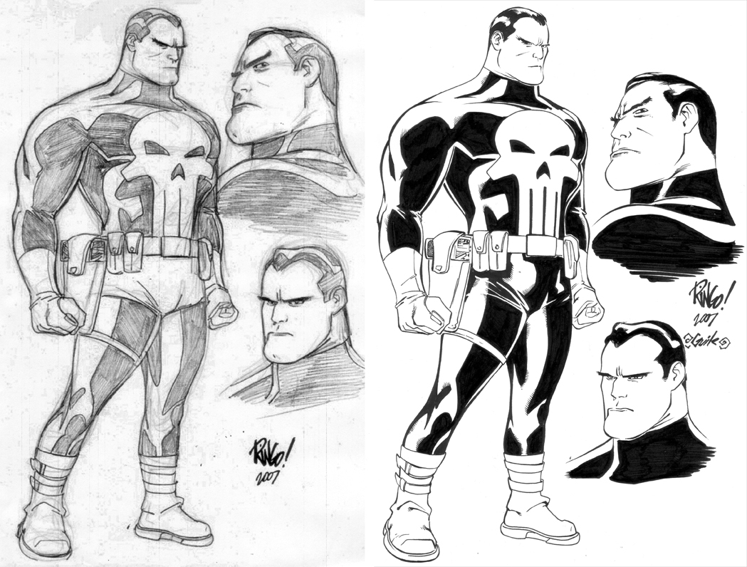 The Punisher - Mike Wieringo & Guile!!! Comic Art