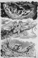 Godzilla Cataclysm issue 2 page 2 featuring Mothra,King Ghidorah and Ebirah.  Comic Art